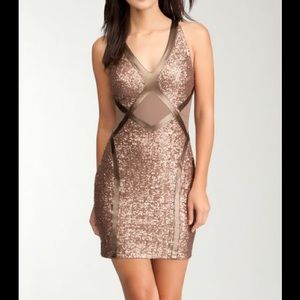 Bebe Copper Sequin Bodycon Cocktail Dress Sz XS